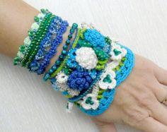 Bracelet Cuff, Crochet Cuff Bracelet, Beaded Bracelet Cuff, Crochet Jewelry, Japanese Toho beads, Crocheted Roses