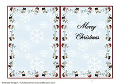 Happy Snowmen 1 Insert on Craftsuprint designed by Sheila Rodgers - This insert…