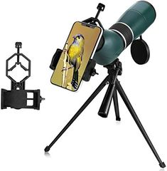 Buy MaxUSee Zoom HD Spotting Scope with Tripod, Carrying Bag and Phone Adapter, Prism Full Multi-Coated Lens for Target Shooting Hunting Bird Watching Wildlife Scenery Moon Viewing High Contrast Images, Zoom Hd, Take Video, Used Cell Phones, Video Camera, Carry On Bag, Low Lights, Bird Watching, Phone Holder