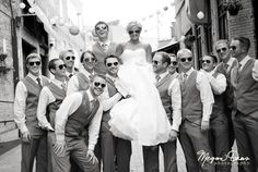 Bride and Groomsmen | Wedding Photography Ideas | Sunglasses | Black and White Photography
