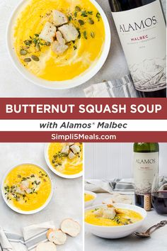 Butternut Squash Soup & Malbec: This rich and creamy stew is only 4 ingredients! Pair with Alamos Malbec for a delightfully lush and balanced meal. Veggie Recipes, Soup Recipes, Dinner Recipes, Healthy Recipes, Recipies, Squash Soup, Butternut Squash, I Love Food, Good Food