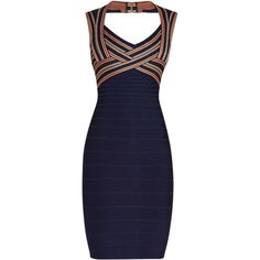 Herve Leger Analise Jacquard Stripe Detail Dress ($1,440) ❤ liked on Polyvore featuring dresses, blue striped dress, blue dress, jacquard dress, pencil dress and stripe dresses