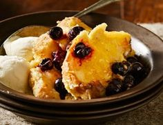 Blueberry and lemon curd bread pudding