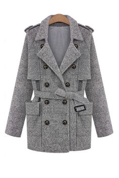 Goodnight Macaroon HEATHER GRAY DOUBLE BREASTED OVERSIZED Cocoon COAT $198.00 USD