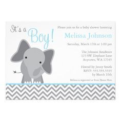 Elephant Baby Shower Invitation for a little Boy in Light Blue and Gray Chevron / Custom Invites & Announcements