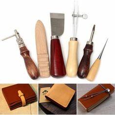 6Pcs/Set New Leather Craft Tool Set Tools Kit For Leathercraft Stamp Craf Punch Hole