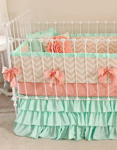 Mint Peach Baby Bedding. Girl Crib Bedding, Baby Girl Bedding, coral and mint nursery, Mint Sorbet Chevron nursery decor  by lottiedababy
