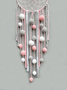 Pink nursery dream catcher Kids room decor wall hanging Christmas gift for baby girl Dreamcatcher with pompoms Baby shower gift Dream Catcher For Kids, Dream Catcher Craft, Diy Nursery Decor, Room Decor, Baby Decor, Boho Dekor, Crochet Wall Hangings, Baby Christmas Gifts, Christmas Decor