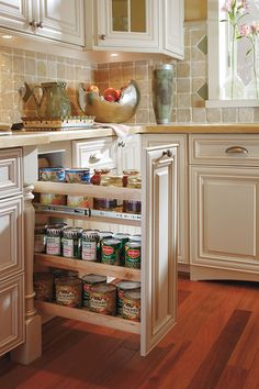 This base cabinet pullout makes excellent use of narrow, deep spaces. Perfect for snacks, spices, and other pantry items.