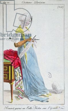 Parisian costume: bonnet trimmed with tulle, fichu on the shoulders, 1802 (coloured engraving)