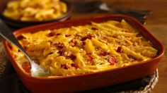 Trusty standby macaroni and cheese gets a flavor makeover with bacon and bell peppers.