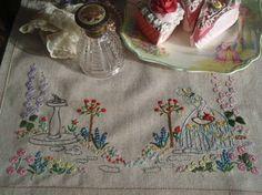 "Gorgeous Vintage Embroidered Crinoline Lady Sun Dial Hollyhocks Cloth 15.5""x19"""