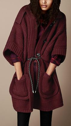 Oversize Check Knit Cardigan | Burberry