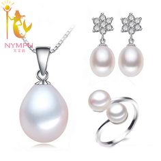Just $10.19, Buy NYMPH Pearl Jewelry Set Natural Freshwater Pearl Necklace Pendant Earrings Rings Trendy Party Christmas Gift For Women T118