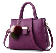 e0d52735f Women Faux-Leather Tote Messenger Handbag with Belt Buckle Lock and Tassel
