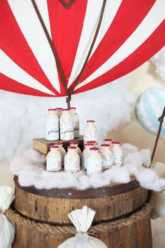 Drink station at a rustic hot air balloon birthday party! See more party planning ideas at CatchMyParty.com!