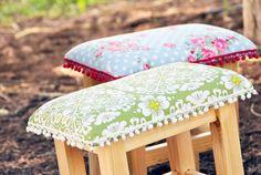 Stool Handmade stool made of pine tree Padded by StudioBornstein  שרפרף מרופד,סטודיו בורנשטיין