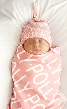 PERSONALISIERTE Babydecke Hut Satz organische kommen von PETUNIAS