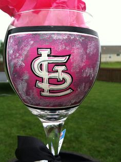 Cardinals wine glass by mitzs on Etsy, $30.00