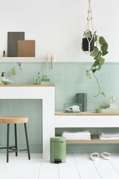 Surprisingly Stunning DIY Bathroom Counter Tray with Full Tutorial A lovely organic feeling bathroom. The soft green tiles give the vanity and shelving definition. Pastel Bathroom, Mint Bathroom, Small Bathroom Tiles, Modern Bathroom, Mint Green Bathrooms, Simple Bathroom, Bad Inspiration, Bathroom Inspiration, Beautiful Bathrooms