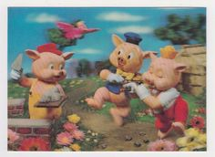 1970s Nice Lenticular TOPPAN Japan 3D Postcard Three Little Pigs Tale #175