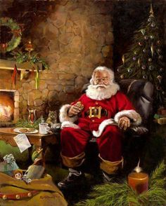 Father Christmas having five minutes to himself 😍 Old Time Christmas, Christmas Scenes, Old Fashioned Christmas, Vintage Christmas Cards, Santa Christmas, Christmas Pictures, Winter Christmas, Father Christmas, Xmas