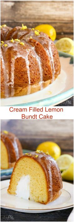 A beautiful bundt cake that& buttery, lightly lemon flavored and filled with a lemon cream cheese filling, this Cream Filled Lemon Bundt Cake starts with a cake mix. Lemon Desserts, Lemon Recipes, Easy Desserts, Sweet Recipes, Baking Recipes, Delicious Desserts, Cupcakes, Cupcake Cakes, Cupcake Recipes