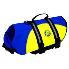 Paws Aboard Neoprene Dogs Life Jacket Blue Yellow Dog Life Vest Pet Water Safety #PawsAbroad