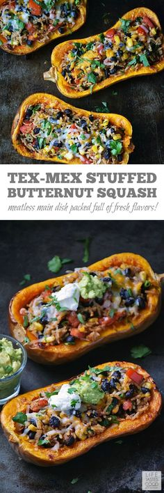 Stuffed Butternut Squash | by Life Tastes Good is a meatless meal packed full of fresh flavors inspired by Mexican cuisine. This recipe comes in a handy bowl you can eat too! #LTGrecipes http://w3food.com/ppost/196539971218948933/