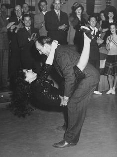 Allen Jenkins and Joan Crawford rehearse the jitterbug number