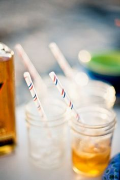 mason jars + straws