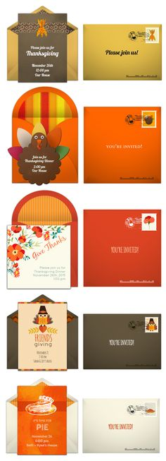 Paper invites are too formal, and emails are too casual. Get it just right with online invitations from Punchbowl. We've got everything you need for your Thanksgiving party.  http://www.punchbowl.com/online-invitations/category/25/?utm_source=Pinterest&utm_medium=17.7P