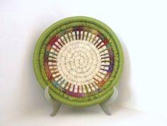 yarn coil baskets | Yarn Coiled Basket, Decorative Storage Basket, Multicolored