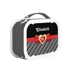 Glam striped pattern with black and white stripes and red bow & jewel Lunchboxes. #stripes, #pattern, #blackwhite, #bow, #red, #lunchbox  See more #gifts here http://www.zazzle.com/zazzleproducts1?rf=238228936251904937=zBookmarklet