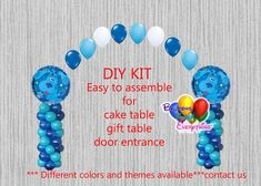 Blues Clues Birthday Balloon Arch Columns, Cake Table, Gift Table, DIY KIT Party Blues Clues Party Balloon Decorations Do It Yourself KIT easy to assemble *** Includes: 2 - 18 1st Birthday Party For Girls, 2nd Birthday, Birthday Ideas, Blues Clues, Gift Table, Table Diy, Cake Table, Balloon Decorations Party, Birthday Party Decorations