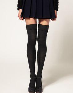 Over the knee black or blue socks