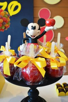 Caramel apples at a Mickey Mouse 1st Birthday Party via Kara's Party Ideas | Kara'sPartyIdeas.com #MickeyMouseClubhouse #Party #Ideas #Supplies #mickeymouse #caramelapples