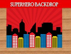 SUPERHERO Birthday Party - City Scape Background - Super Hero party- Super Hero Backdrop-Super Hero Party Printables-Comic-INSTANT Download by KROWNKREATIONS on Etsy