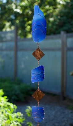 Wind Chime all Glass and Copper Handcrafted Windchimes - Coast Chimes - 2