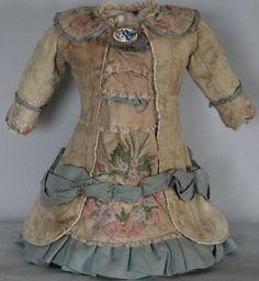 Vintage Jacquard Linen Embroidered Dress for Antique Jumeau Steiner Bru BEBE | eBay