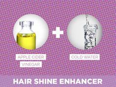 Apple Cider Vinegar + Cold Water = Hair Shine Enhancer http://www.ivillage.com/beauty-blogger-tips-hair-makeup-skincare-tricks/5-a-556525