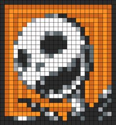 Jack Skellington Perler Bead Pattern / Bead Sprite (Maybe make granny squares and knit them together?)