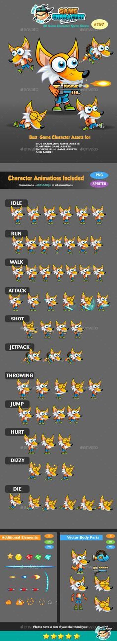 Fox 2D Game Character Sprites 187 - #Sprites #Game #Assets Download here: https://graphicriver.net/item/fox-2d-game-character-sprites-187/15021919?ref=alena994