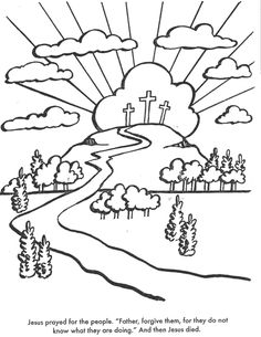 the crucifixion bible coloring page for kids to learn bible stories