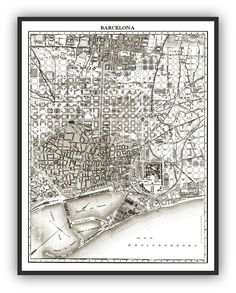 1900's City Lithograph Map of Barcelona