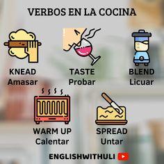 Verbos para utilizar al momento de cocinar!. #ingles #english #vocabulary #vocabularywords #words #verbos #verbs #aprende #englishwithuli #idioma #aprendeingles #aprender #aprenderingles #learn #educar #educacion #exito #rapido #facil #englishteacher  #englishlanguage #grammar #englishtips #englishgrammar #englishlearning #speakenglish #tips #englishtip #englishtips #englishclass Spanish Flashcards, English Vocabulary Words, Learn English Words, English Phrases, English Grammar, English Tips, English Study, English Lessons, Learning Techniques