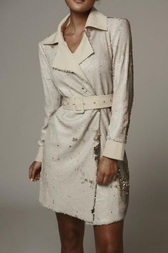 Ivory Sequin Two Tone Trench Coat Winter Coats Women, Trench, Sequins, Ivory, Shirt Dress, Long Sleeve, Swimwear, How To Wear, Jackets