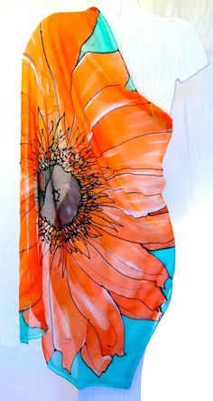 Large Silk Scarf Square, ETSY ASAP, Hand Painted Silk Scarf, Spring Scarf…