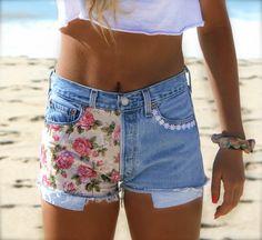 Flower child high waisted denim shorts