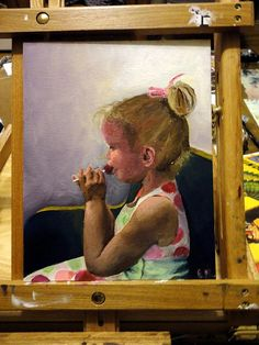 Stormy, working on a lollipop in church. Oil on canvas.